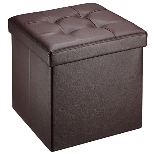 Ollieroo faux leather folding storage ottoman bench seat for Storage ottoman seat
