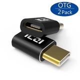 [2 Pack] ICZI Gold-Plated USB-C to Micro USB Adapter, Type C to Micro USB Convertor with Aluminum Shell for MacBook, Huawei Mate 9/Mate 10, Galaxy S8/Note 8, LG G6, Nexus 5X/6P, HTC 10 and more (Support OTG)