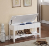 Roundhill Quality Solid Wood Shoe Bench with Storage, White