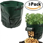 7 Gallon Garden Potato Grow Bag Vegetables Planter Bags with Handles and Access Flap for Potato, Carrot & Onion, 3 Pack