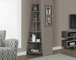 Monarch Specialties I 2497 Dark Taupe Reclaimed-Look Corner Accent Etagere, 72″