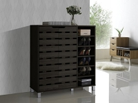 Baxton Studio Shirley Modern and Contemporary Wood 2-Door Shoe Cabinet with Open Shelves