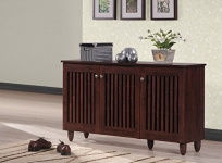 Baxton Studio Modern and Contemporary 3-Door Oak Brown Wooden Entryway Shoes Storage Wide Cabinet