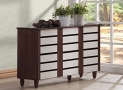 Baxton Studio Wholesale Interiors Gisela Oak and White 2-Tone Shoe Cabinet with 3 Doors