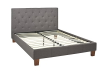 Brassex Inc Fabric Bed with Button Tufted Headboard and Rich Textured Fabric, Queen