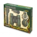 Carson AdventurePak Containing 30mm Kids Field Binoculars, Lensatic Compass, Flashlight and Signal Whistle with a Buit-in Thermometer