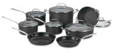 CUISINART Chef's Classic Nonstick Hard-Anodized 14-Piece Cookware Set, Black
