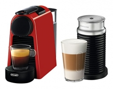 Delonghi EN85RAECA Nespresso Essenza Mini Espresso Machine by De'Longhi with Aeroccino, Ruby Red