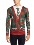 Faux Real Men's Ugly Cardigan with Tie