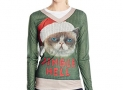 Faux Real Women's Jingle Hell Cat Ugly Xmas Sweater Long Sleeve T-Shirt