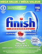 Finish Dishwasher Detergent Soap, All in 1 Powerball, Fresh, Mega Value Pack, 110 Tablets