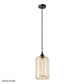 Globe Electric 65612 Modern 1 Light Pendant, Designer Cloth Cord, Amber Glass, Matte Black Finish, 1x A19 60W Blub (Sold Separately)