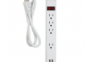 Globe Electric 78087 4 Grounded Outlet Power Strip, Circuit Breaker Switch, 2 USB Outlets