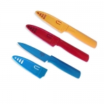 Kuhn Rikon 4-Inch Nonstick Colori Paring Knife, Set of 3