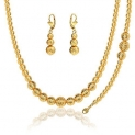 Lovely Ball Set Stamp 18K Gold Plated Party Necklace & Bracelet & Earrings For Women NB60076