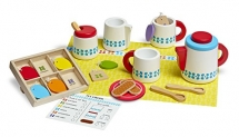 Melissa & Doug 22-Piece Steep and Serve Wooden Tea Set – Play Food and Kitchen Accessories
