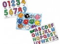 Melissa & Doug Classic Wooden Peg Puzzles (Set of 3) – Numbers, Alphabet, and Colors
