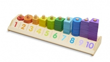 Melissa & Doug Counting Shape Stacker – Wooden Educational Toy With 55 Shapes and 10 Number Tiles