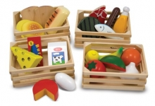 Melissa & Doug Food Groups – 21 Hand-Painted Wooden Pieces and 4 Crates