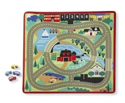 Melissa & Doug Round the Town Road Rug and Car Activity Play Set With 4 Wooden Cars