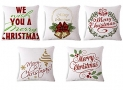 Merry Christmas Series Cotton Linen Decorative Throw Pillow Covers 18 Inch By 18 Inch (Set of 5)