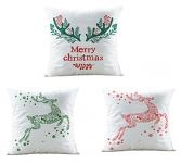 Merry Christmas Series Cotton Linen Decorative Throw Pillow Covers 18 Inch By 18 Inch (Set of 3)