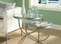 Monarch Specialties Nesting Table Set with Tempered Glass, Satin Silver, Set of 2