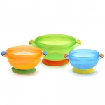 Munchkin Three Stay Put Suction Bowl, 3-Pack