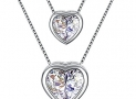 """Necklace, 925 Sterling Silver Pendant Necklace with 5A CZ J.Rosée Fine Jewelry for Women """"Double Layer Heart"""" , 18""""+ 2″ Extender"""