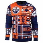 NHL Edmonton Oilers Patches Ugly Sweater, Blue, Large