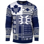 NHL Toronto Maple Leafs Patches Ugly Sweater, Blue, Large