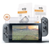 Orzly Glass Screen Protectors compatible with Nintendo Switch – Premium Tempered Glass Screen Protector TWIN PACK [2x Screen Guards – 0.24mm] for 6.2 Inch Tablet Screen on Nintendo Switch Console