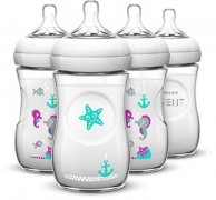 Philips AVENT 4 Piece Natural Baby Bottle with Seahorse Design, 9 Ounce, (4 Pack)