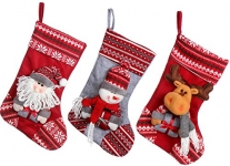 Sea Team 17.7″ Large Size Vintage Handcrafted Christmas Stocking Gift & Candy Pouch Bag with Stereo Festive Characters, Set of 3