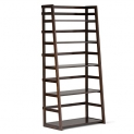 Simpli Home Acadian Collection Ladder Shelf Bookcase, Rich Tobacco Brown