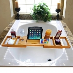 Slashome Bamboo Luxury Bathtub Caddy Tub Organizer with Extending Sides,2 Removable Boards and Adjustable Stainless Steel Book/iPad Stand