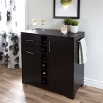 South Shore Furniture Vietti Bar Cabinet with Bottle and Glass Storage, Black Oak