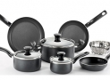T-fal Initiatives Nonstick Inside and Out Dishwasher Safe Oven Safe Cookware Set, 10-Piece, Charcoal