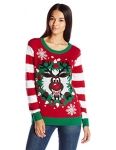 Ugly Christmas Sweater Womens Light-up Reindeer Wreath
