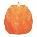 Himalayan Glow Natural Style Hand Carved Natural Crystal Himalayan 1 Hole Tealight Candle Holder, 2-Pack